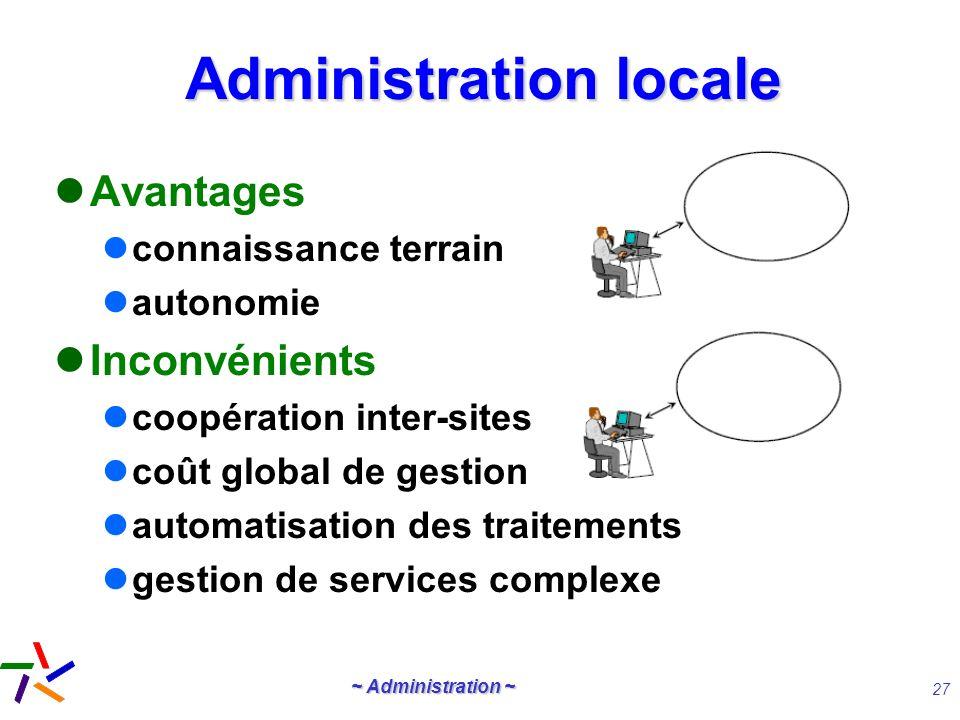 ~ Administration ~ 27 Administration locale Avantages connaissance terrain autonomie Inconvénients coopération inter-sites coût global de gestion auto