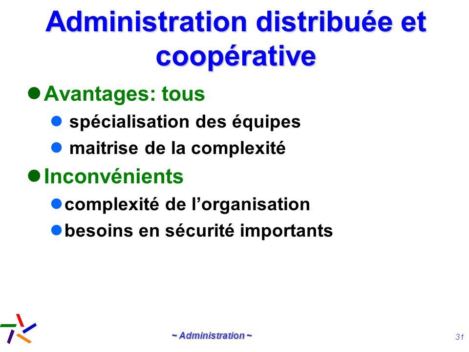 ~ Administration ~ 31 Administration distribuée et coopérative Avantages: tous spécialisation des équipes maitrise de la complexité Inconvénients comp
