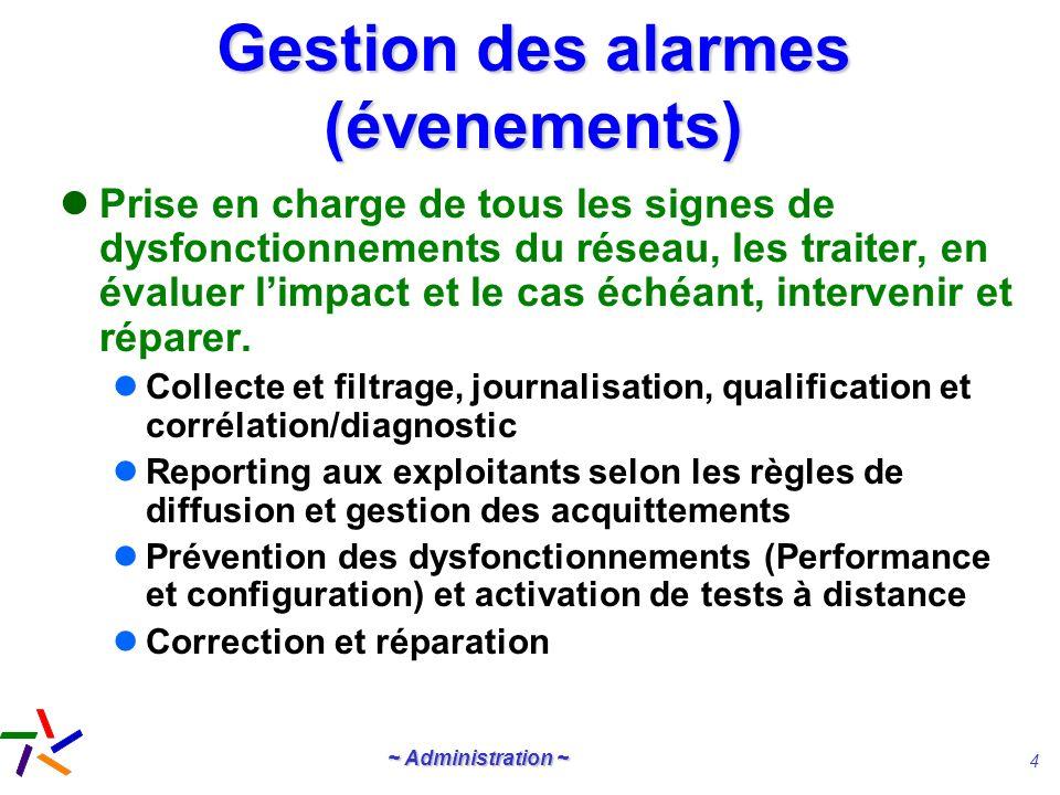~ Administration ~ 4 Gestion des alarmes (évenements) Prise en charge de tous les signes de dysfonctionnements du réseau, les traiter, en évaluer limp