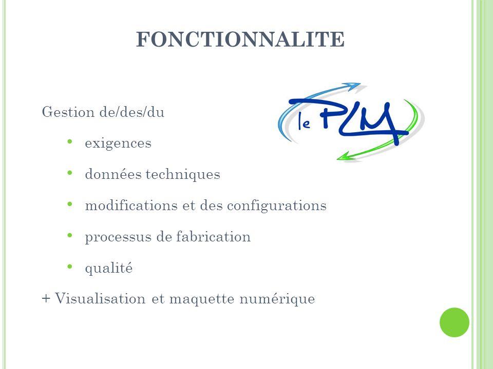 FONCTIONNALITE Gestion de/des/du exigences données techniques modifications et des configurations processus de fabrication qualité + Visualisation et maquette numérique
