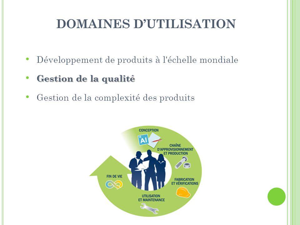 DOMAINES DUTILISATION Développement de produits à l échelle mondiale Gestion de la qualité Gestion de la complexité des produits