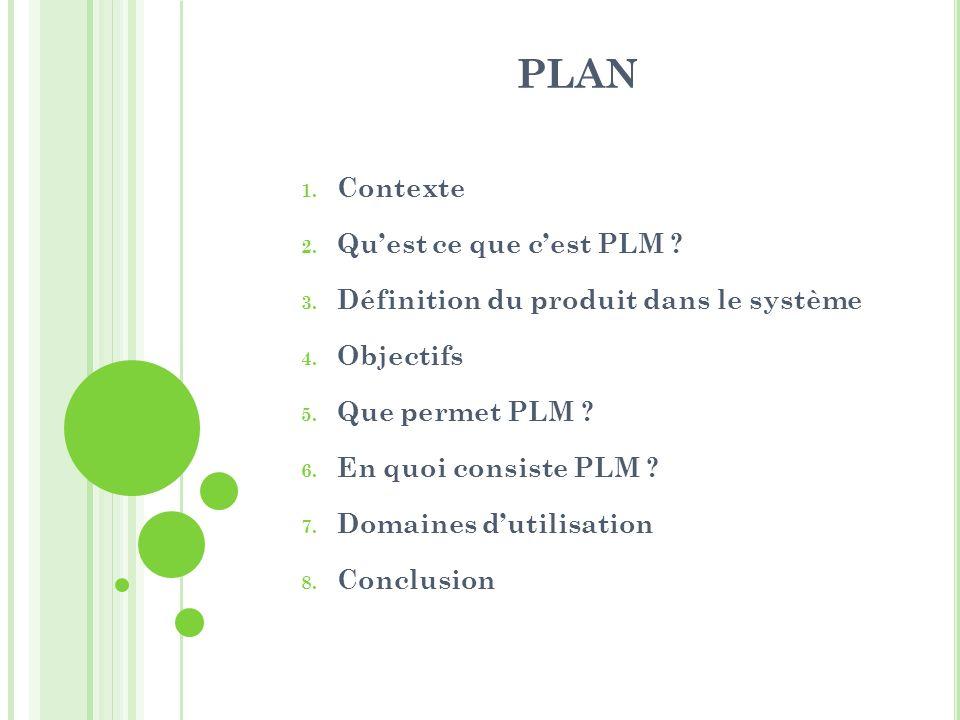PLAN 1. Contexte 2. Quest ce que cest PLM ? 3. Définition du produit dans le système 4. Objectifs 5. Que permet PLM ? 6. En quoi consiste PLM ? 7. Dom