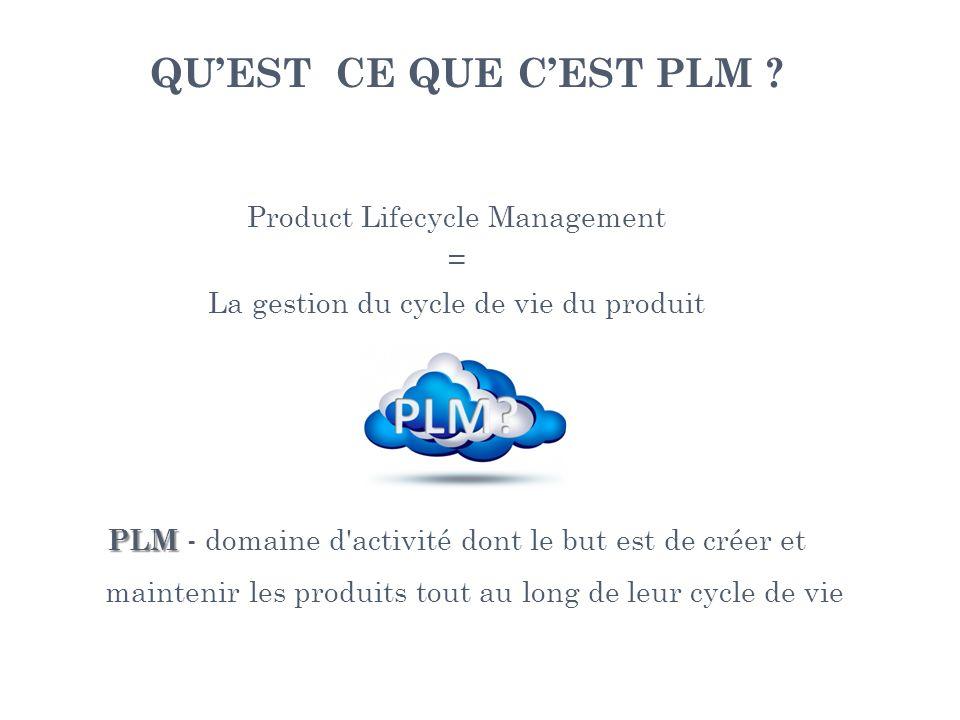 QUEST CE QUE CEST PLM ? Product Lifecycle Management = La gestion du cycle de vie du produit PLM PLM - domaine d'activité dont le but est de créer et