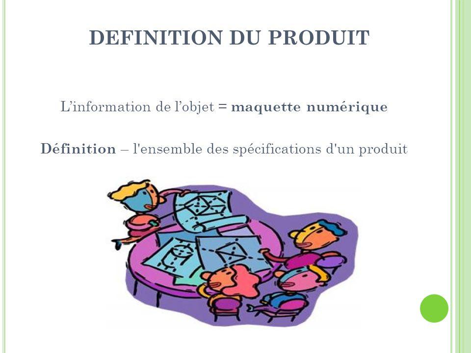 DEFINITION DU PRODUIT Linformation de lobjet = maquette numérique Définition – l'ensemble des spécifications d'un produit