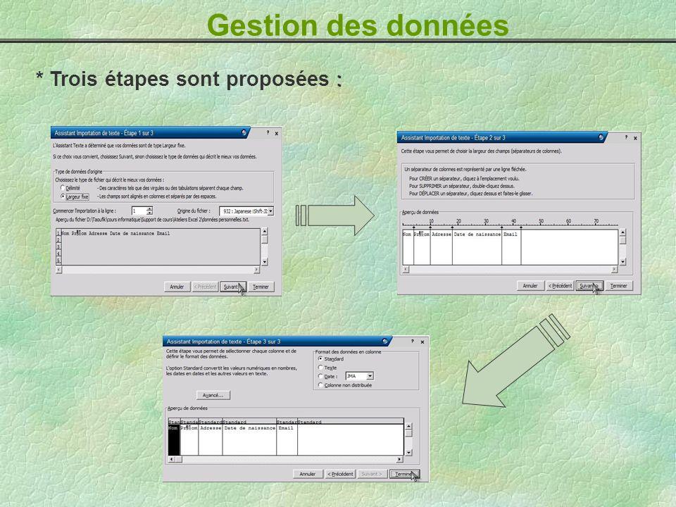 : * Trois étapes sont proposées : Gestion des données