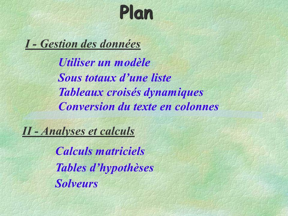 I - Gestion des données Utiliser un modèle Sous totaux dune liste Tableaux croisés dynamiques Conversion du texte en colonnes II - Analyses et calculs