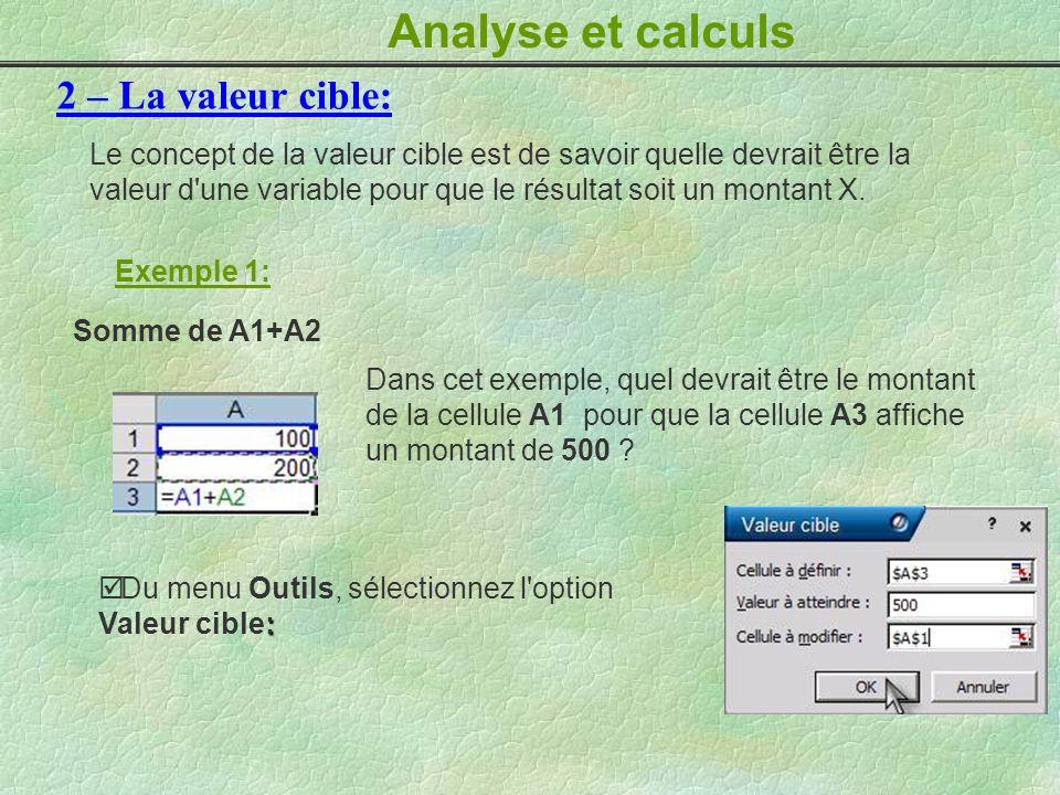 Analyse et calculs 2 – La valeur cible: Le concept de la valeur cible est de savoir quelle devrait être la valeur d'une variable pour que le résultat