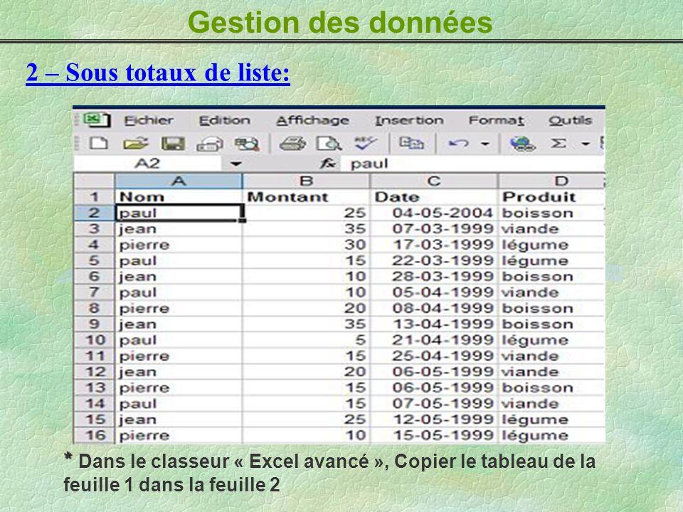 Gestion des données 2 – Sous totaux de liste: * * Dans le classeur « Excel avancé », Copier le tableau de la feuille 1 dans la feuille 2