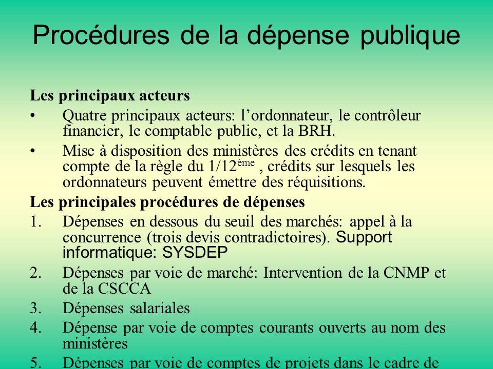 Procédures de la dépense publique Les principaux acteurs Quatre principaux acteurs: lordonnateur, le contrôleur financier, le comptable public, et la BRH.