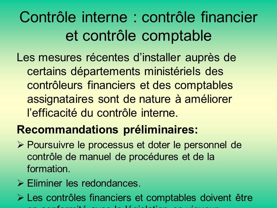 Contrôle interne : contrôle financier et contrôle comptable Les mesures récentes dinstaller auprès de certains départements ministériels des contrôleurs financiers et des comptables assignataires sont de nature à améliorer lefficacité du contrôle interne.