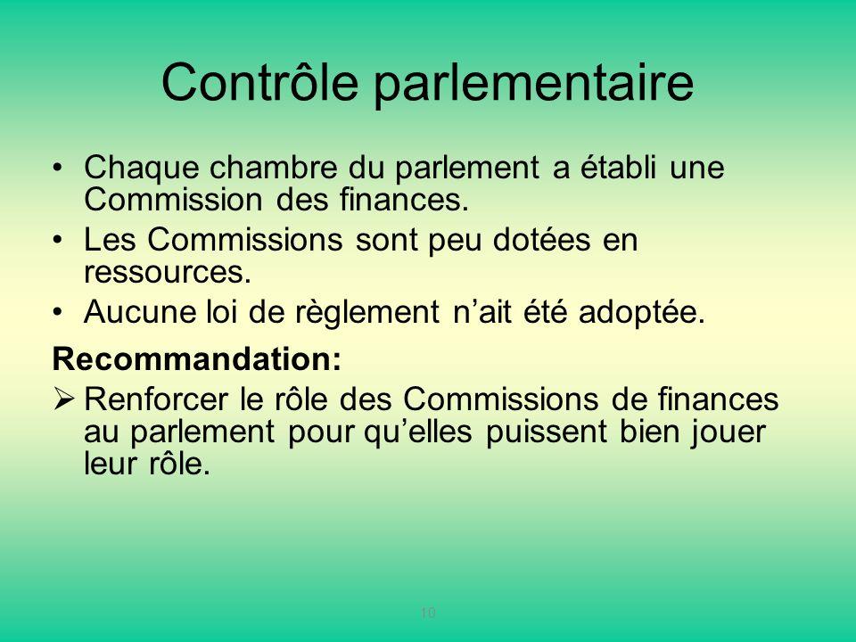 Contrôle parlementaire Chaque chambre du parlement a établi une Commission des finances. Les Commissions sont peu dotées en ressources. Aucune loi de