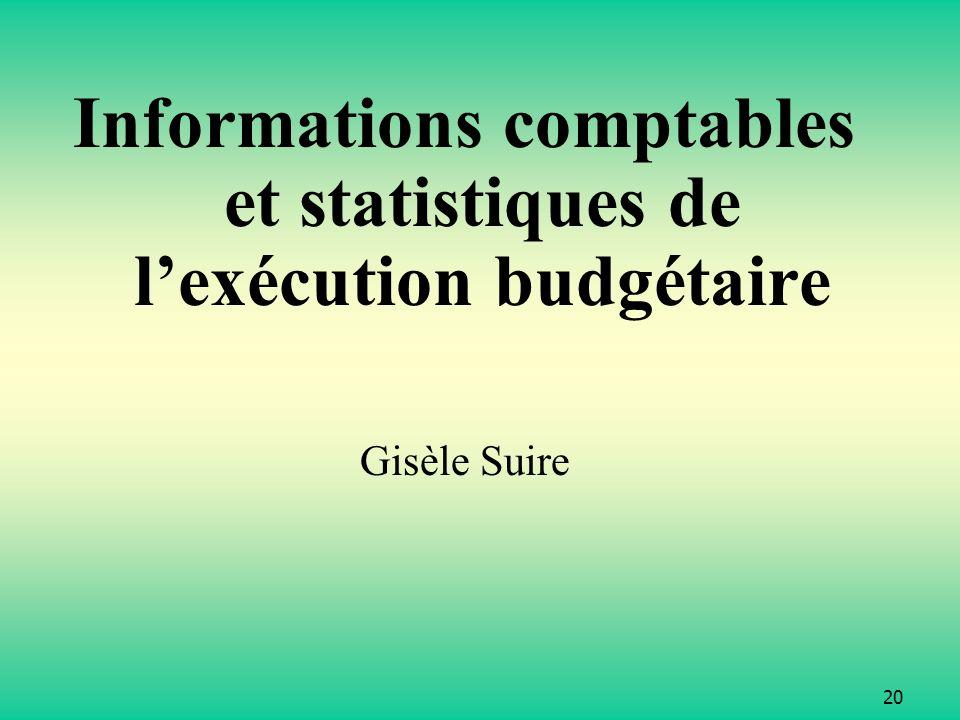20 Informations comptables et statistiques de lexécution budgétaire Gisèle Suire