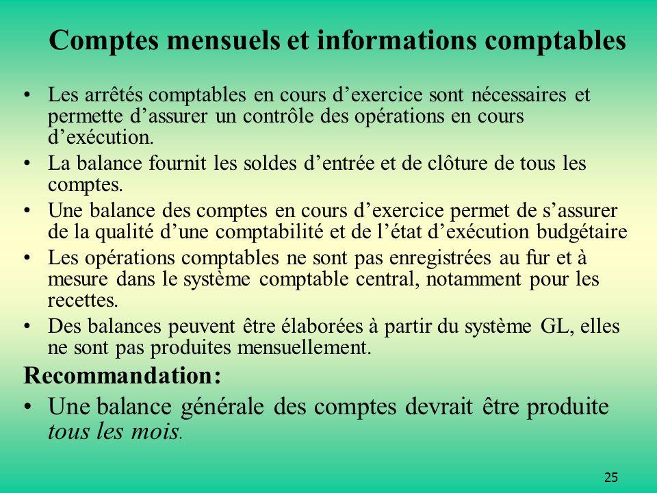25 Comptes mensuels et informations comptables Les arrêtés comptables en cours dexercice sont nécessaires et permette dassurer un contrôle des opérations en cours dexécution.