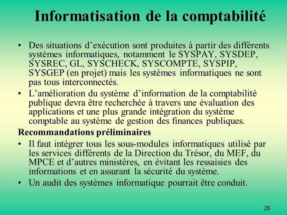 28 Informatisation de la comptabilité Des situations dexécution sont produites à partir des différents systèmes informatiques, notamment le SYSPAY, SYSDEP, SYSREC, GL, SYSCHECK, SYSCOMPTE, SYSPIP, SYSGEP (en projet) mais les systèmes informatiques ne sont pas tous interconnectés.