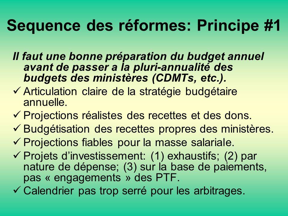 Sequence des réformes: Principe #1 Il faut une bonne préparation du budget annuel avant de passer a la pluri-annualité des budgets des ministères (CDMTs, etc.).