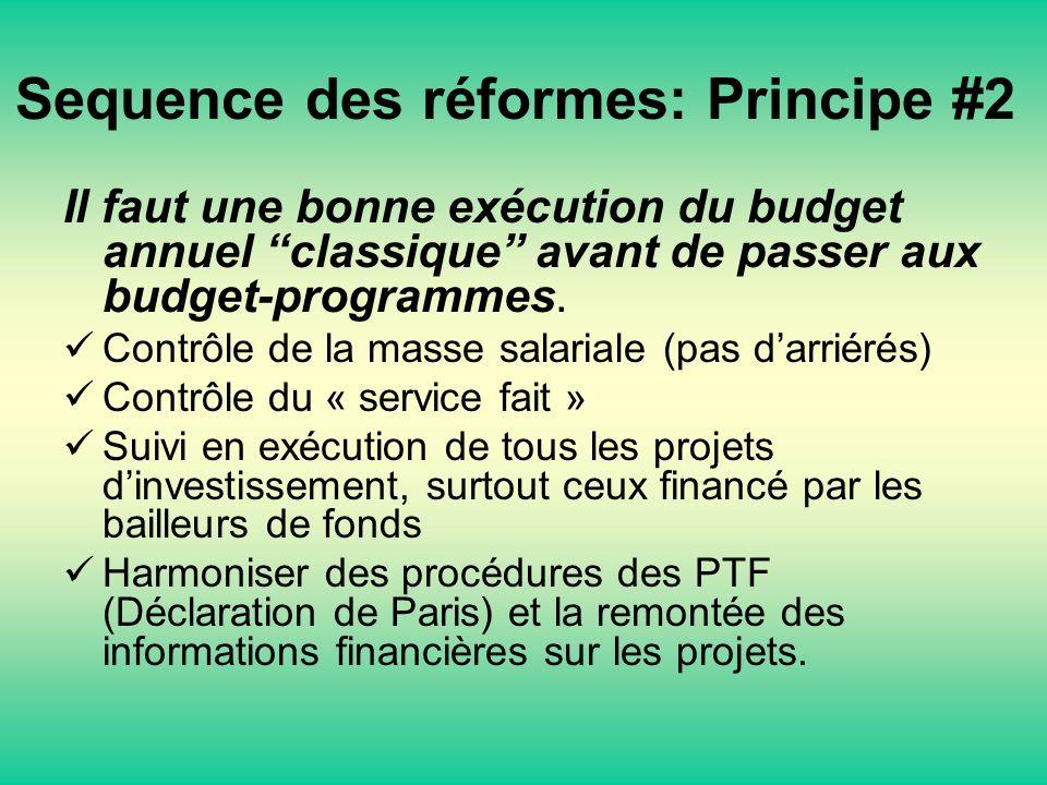 Sequence des réformes: Principe #2 Il faut une bonne exécution du budget annuel classique avant de passer aux budget-programmes. Contrôle de la masse