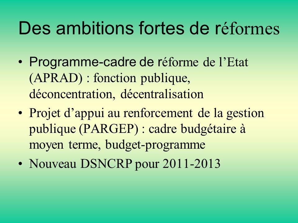 Des ambitions fortes de r éformes Programme-cadre de r éforme de lEtat (APRAD) : fonction publique, déconcentration, décentralisation Projet dappui au renforcement de la gestion publique (PARGEP) : cadre budgétaire à moyen terme, budget-programme Nouveau DSNCRP pour 2011-2013