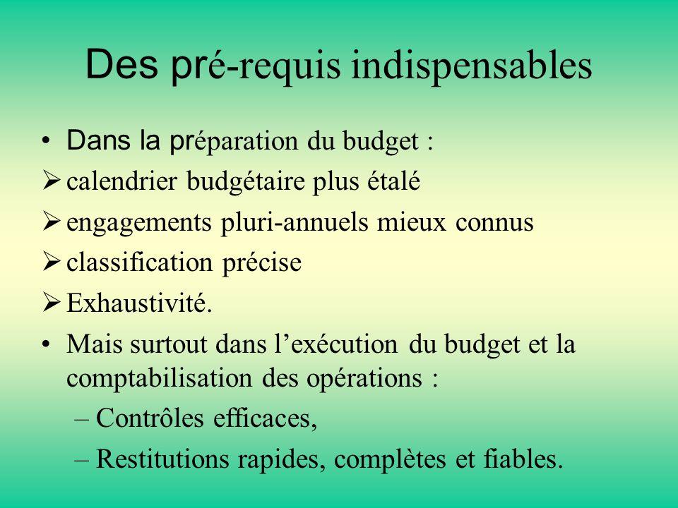 Des pr é-requis indispensables Dans la pr éparation du budget : calendrier budgétaire plus étalé engagements pluri-annuels mieux connus classification précise Exhaustivité.
