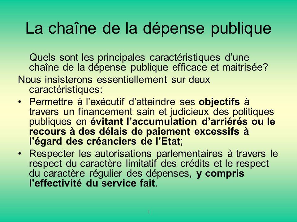 La chaîne de la dépense publique Quels sont les principales caractéristiques dune chaîne de la dépense publique efficace et maitrisée? Nous insisteron