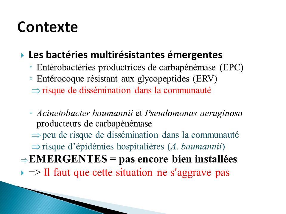 Les bactéries multirésistantes émergentes Entérobactéries productrices de carbapénémase (EPC) Entérocoque résistant aux glycopeptides (ERV) risque de dissémination dans la communauté Acinetobacter baumannii et Pseudomonas aeruginosa producteurs de carbapénémase peu de risque de dissémination dans la communauté risque dépidémies hospitalières (A.