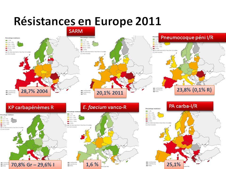 SARM 70,8% Gr – 29,6% I 1,6 % 25,1% 28,7% 2004 20,1% 2011 23,8% (0,1% R) KP carbapénèmes R E.