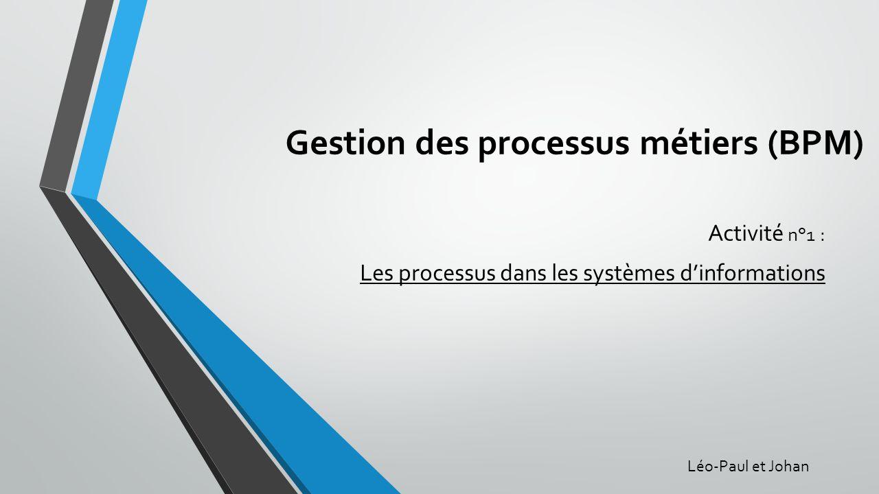 Gestion des processus métiers (BPM) Activité n°1 : Les processus dans les systèmes dinformations Léo-Paul et Johan