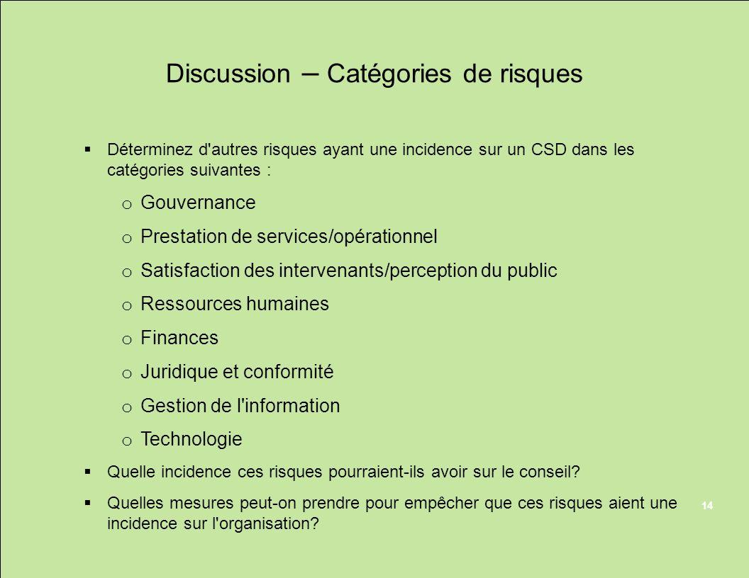 Discussion – Catégories de risques Déterminez d'autres risques ayant une incidence sur un CSD dans les catégories suivantes : o Gouvernance o Prestati