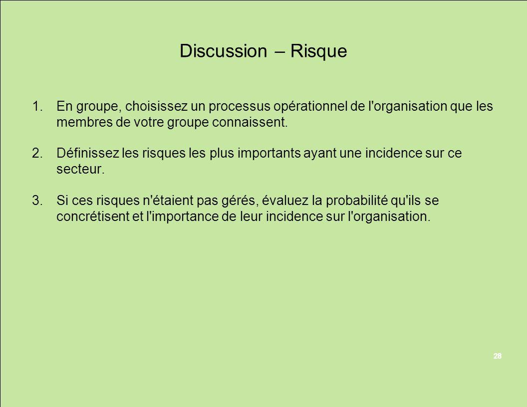 Discussion – Risque 1.En groupe, choisissez un processus opérationnel de l'organisation que les membres de votre groupe connaissent. 2.Définissez les