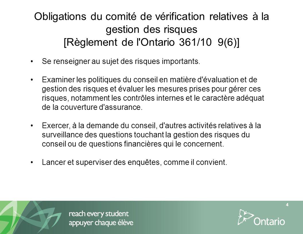 Obligations du comité de vérification relatives à la gestion des risques [Règlement de l'Ontario 361/10 9(6)] 4 Se renseigner au sujet des risques imp