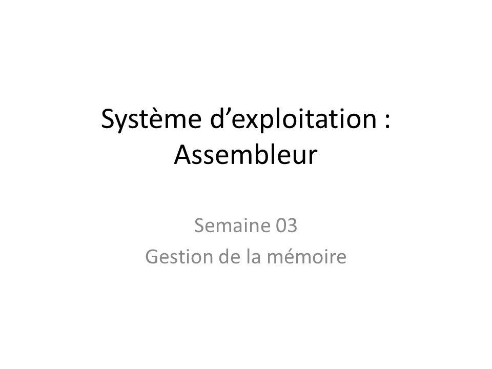 Système dexploitation : Assembleur Semaine 03 Gestion de la mémoire