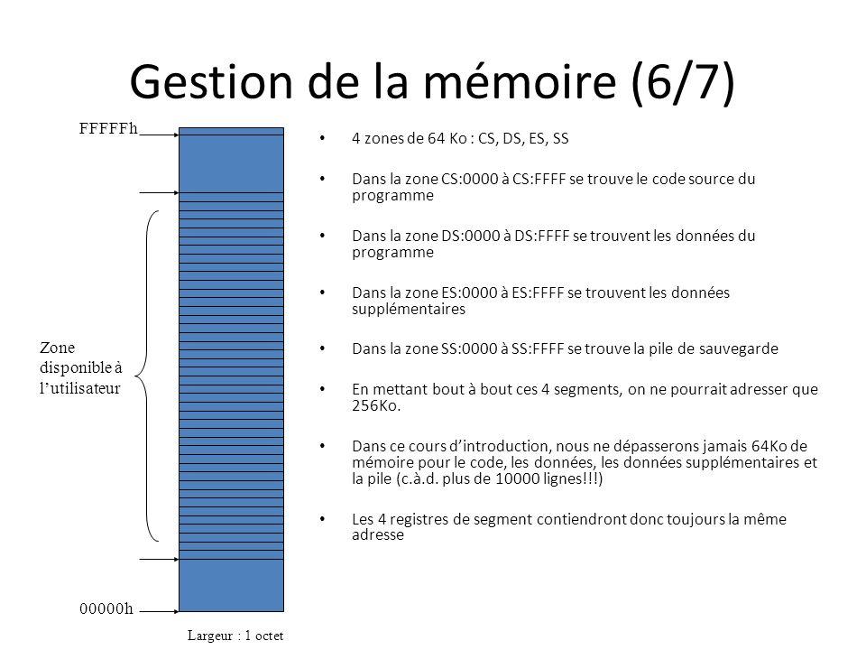 Gestion de la mémoire (6/7) 4 zones de 64 Ko : CS, DS, ES, SS Dans la zone CS:0000 à CS:FFFF se trouve le code source du programme Dans la zone DS:000