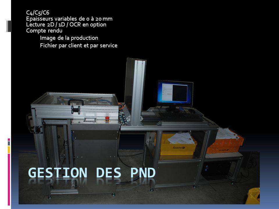 C4/C5/C6 Epaisseurs variables de 0 à 20 mm Lecture 2D / 1D / OCR en option Compte rendu Image de la production Fichier par client et par service