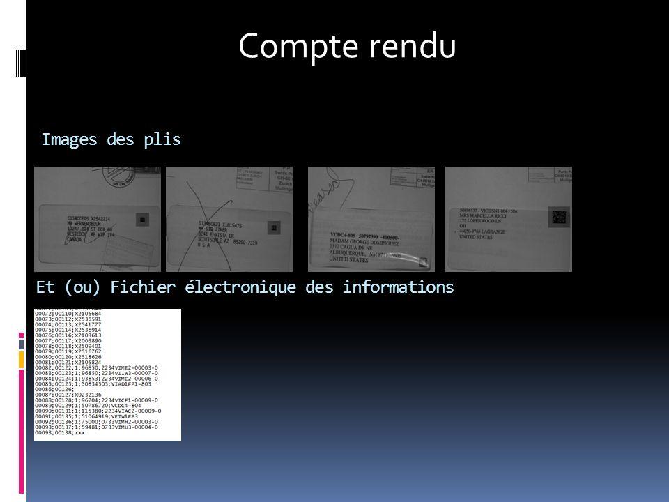 Images des plis Et (ou) Fichier électronique des informations Compte rendu