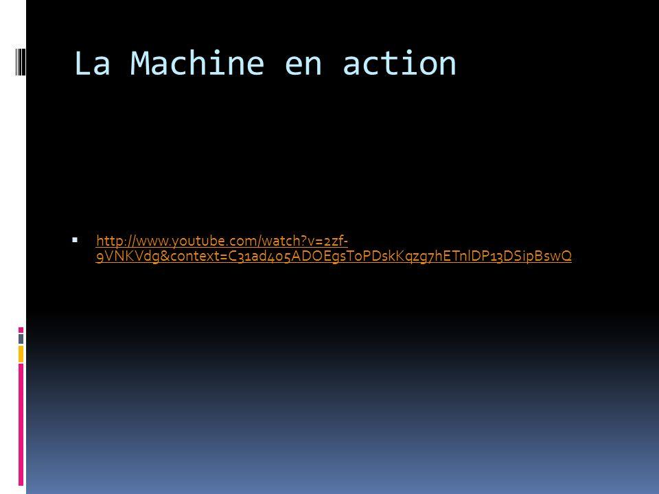 La Machine en action http://www.youtube.com/watch v=2zf- 9VNKVdg&context=C31ad405ADOEgsToPDskKqzg7hETnlDP13DSipBswQ http://www.youtube.com/watch v=2zf- 9VNKVdg&context=C31ad405ADOEgsToPDskKqzg7hETnlDP13DSipBswQ