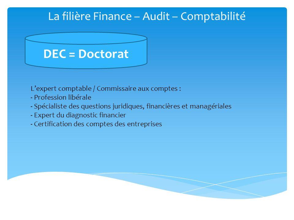 La filière Finance – Audit – Comptabilité DSCG = Master DEC = Doctorat Métiers de la comptabilité : Directeur administratif et financier Métiers de la gestion : Contrôleur de gestion, Auditeur, Responsable de prévision budgétaire Métiers de la finance : Analyste financier, Trésorier, Crédit manager