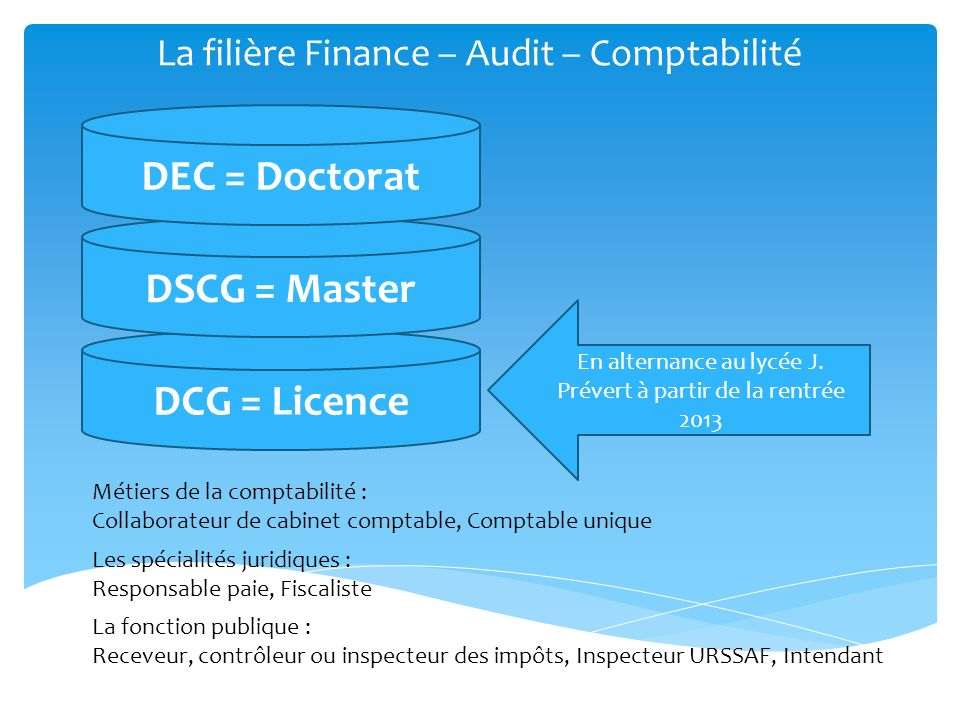 DCG = Licence La filière Finance – Audit – Comptabilité DSCG = Master DEC = Doctorat Les spécialités juridiques : Responsable paie, Fiscaliste En alte