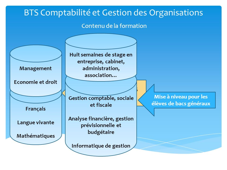 BTS Comptabilité et Gestion des Organisations Contenu de la formation Socle commun aux BTS tertiaires Français Langue vivante Mathématiques Management