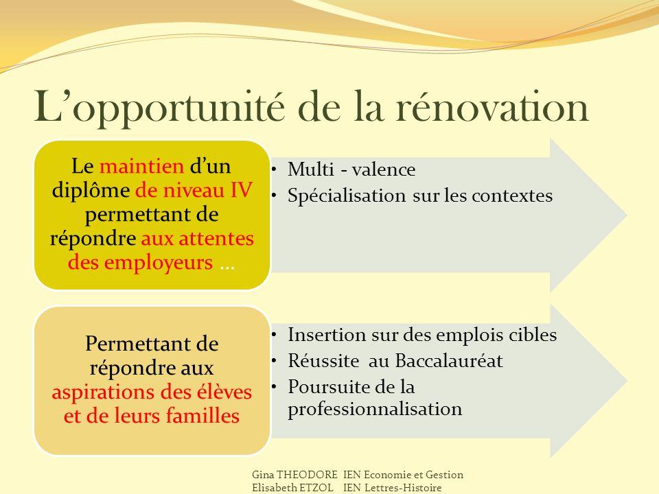 Lopportunité de la rénovation Multi - valence Spécialisation sur les contextes Le maintien dun diplôme de niveau IV permettant de répondre aux attente