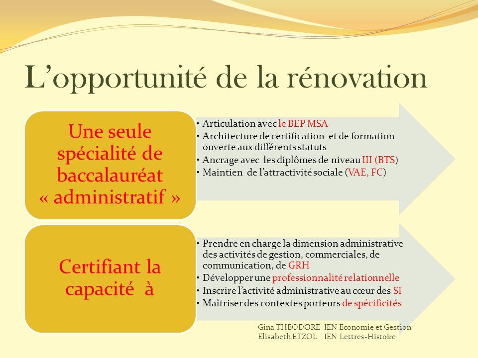 Lopportunité de la rénovation Articulation avec le BEP MSA Architecture de certification et de formation ouverte aux différents statuts Ancrage avec l