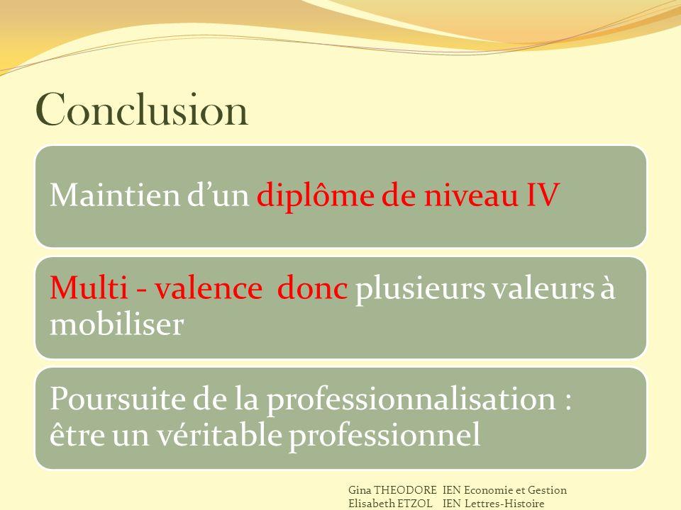 Conclusion Maintien dun diplôme de niveau IV Multi - valence donc plusieurs valeurs à mobiliser Poursuite de la professionnalisation : être un véritab