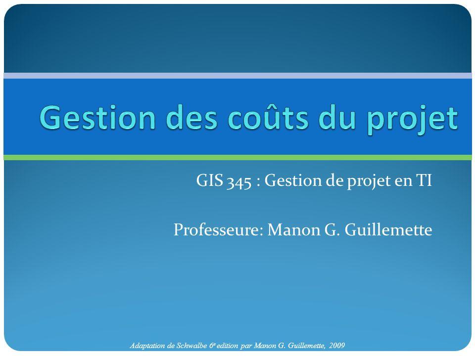 Adaptation de Schwalbe 6 e edition par Manon G. Guillemette, 2009 GIS 345 : Gestion de projet en TI Professeure: Manon G. Guillemette