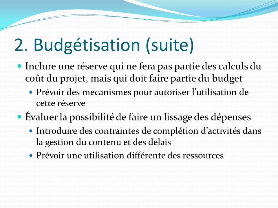 2. Budgétisation (suite) Inclure une réserve qui ne fera pas partie des calculs du coût du projet, mais qui doit faire partie du budget Prévoir des mé
