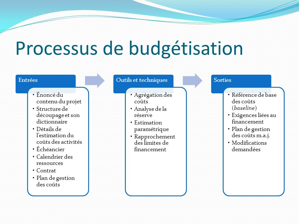 Processus de budgétisation Entrées Énoncé du contenu du projet Structure de découpage et son dictionnaire Détails de lestimation du coûts des activité
