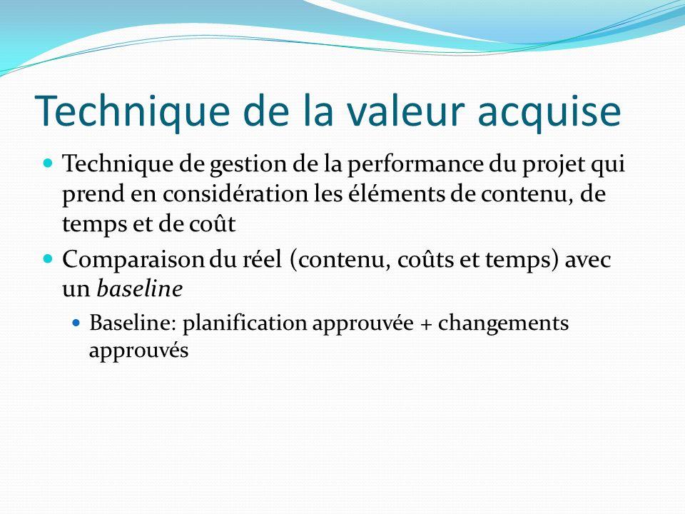Technique de la valeur acquise Technique de gestion de la performance du projet qui prend en considération les éléments de contenu, de temps et de coû