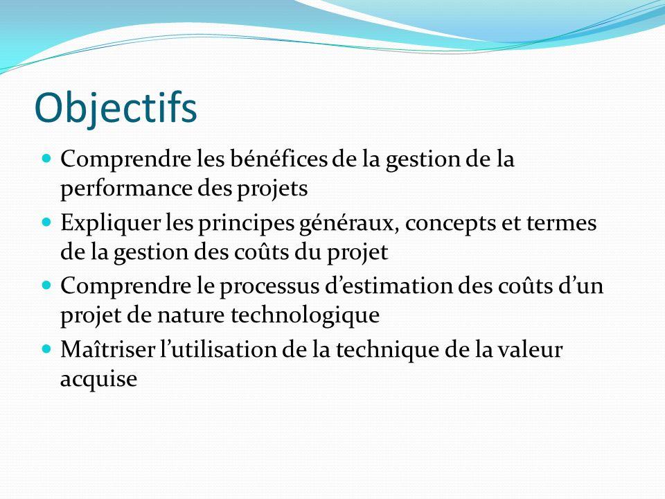 Objectifs Comprendre les bénéfices de la gestion de la performance des projets Expliquer les principes généraux, concepts et termes de la gestion des