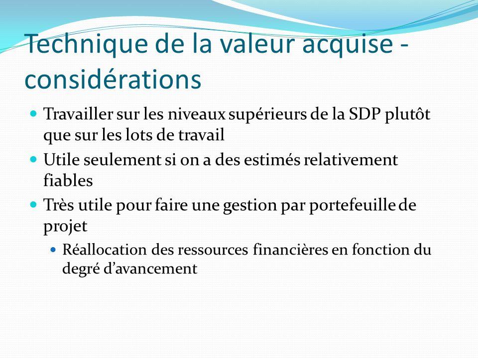 Technique de la valeur acquise - considérations Travailler sur les niveaux supérieurs de la SDP plutôt que sur les lots de travail Utile seulement si