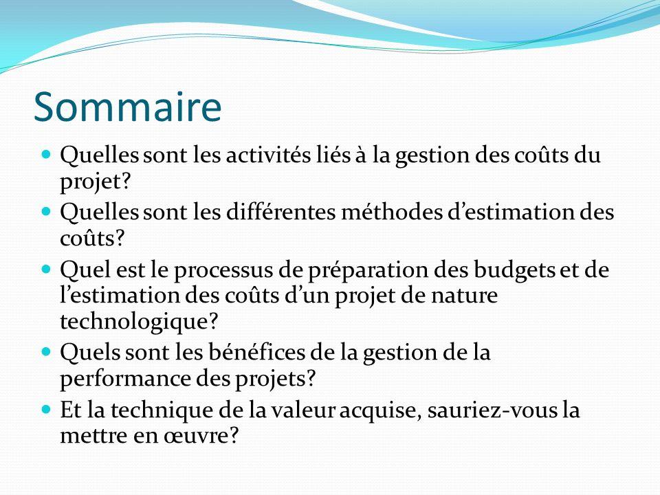 Sommaire Quelles sont les activités liés à la gestion des coûts du projet? Quelles sont les différentes méthodes destimation des coûts? Quel est le pr