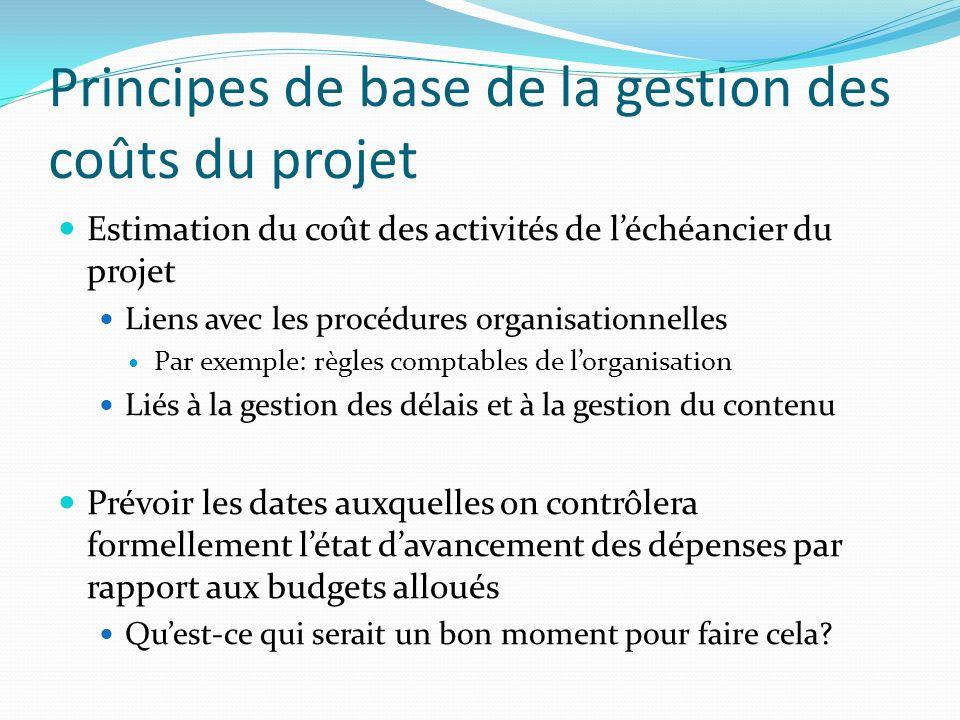Principes de base de la gestion des coûts du projet Estimation du coût des activités de léchéancier du projet Liens avec les procédures organisationne