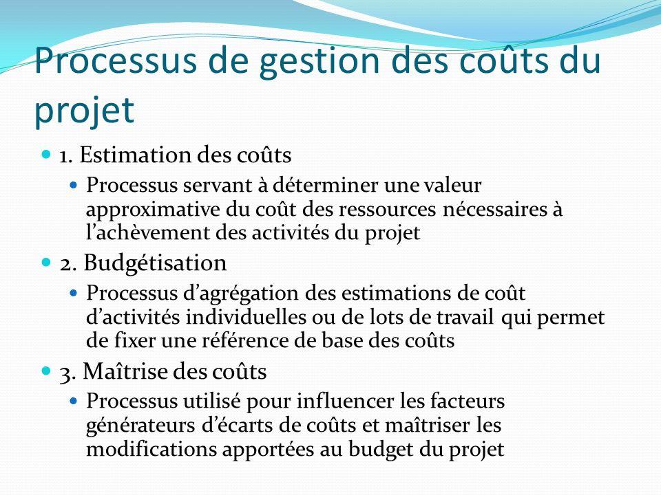 Processus de gestion des coûts du projet 1. Estimation des coûts Processus servant à déterminer une valeur approximative du coût des ressources nécess