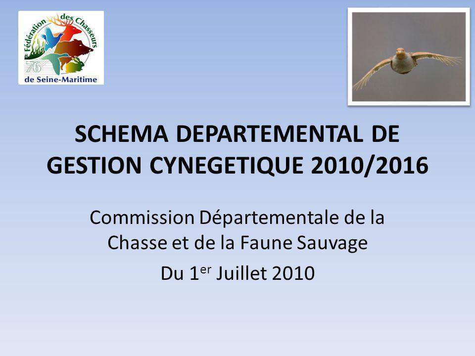 SCHEMA DEPARTEMENTAL DE GESTION CYNEGETIQUE 2010/2016 Commission Départementale de la Chasse et de la Faune Sauvage Du 1 er Juillet 2010